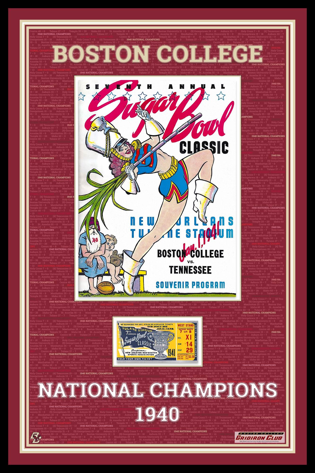 Commemorative 1940 BC Championship Season Retro Framed Design