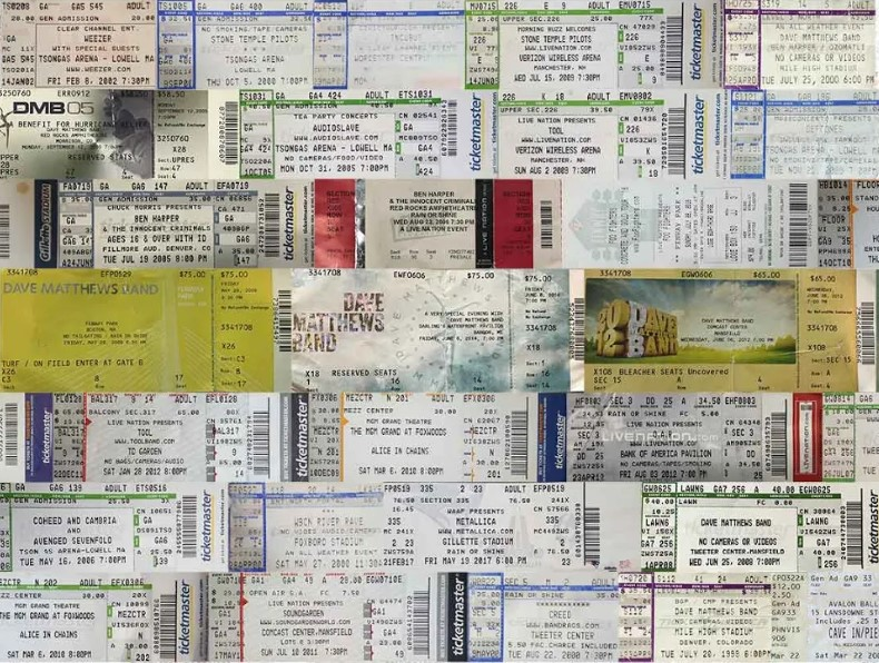 90s Rock Band ticket collage