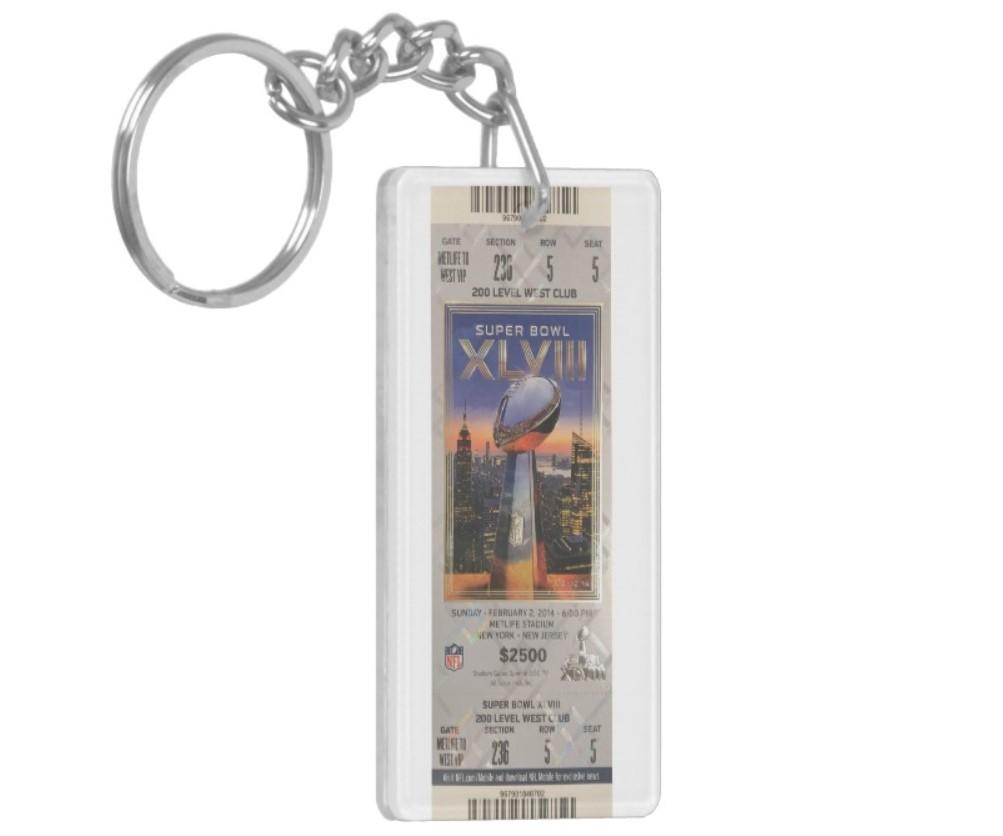 Super Bowl Ticket Keychain